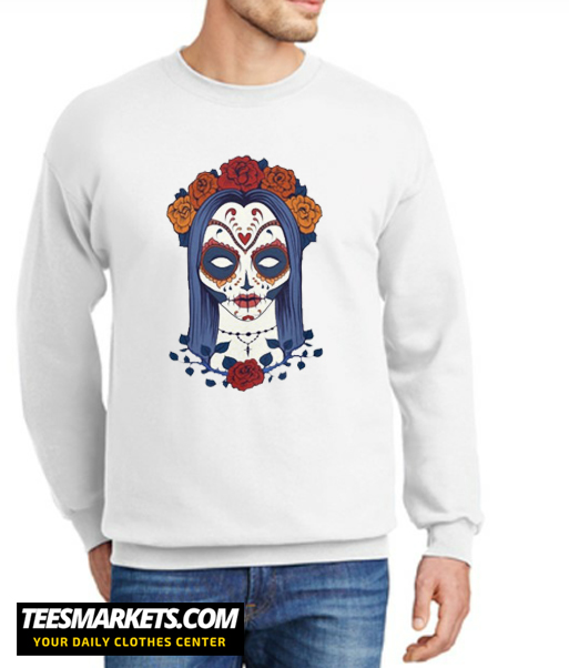 Woman Skull Face with Roses Flowers New Sweatshirt