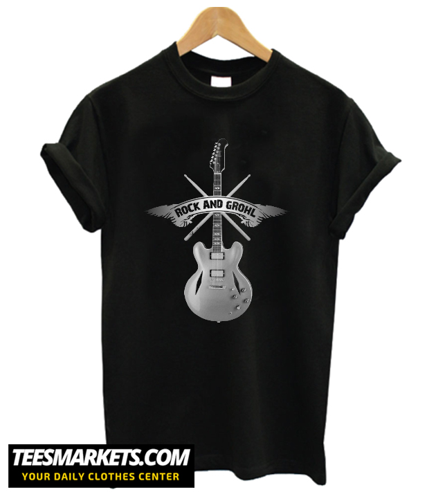ROCK and GROHL Awesome Drumstick & Guitar ORIGINAL Design! T-Shirt
